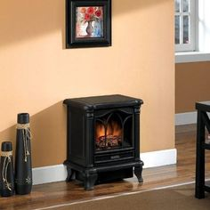This Black Freestanding Electric Stove Style Fireplace Space Heater Adds  Charm, Ambiance And Warmth To Any Room. This Stove Has A Charming Picture  Window ...