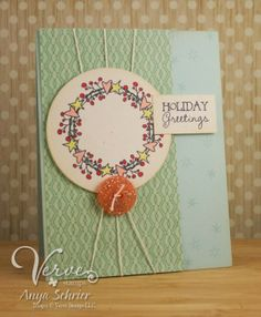 Card by Anya Schrier using Holiday Greetings from Verve.  #vervestamps