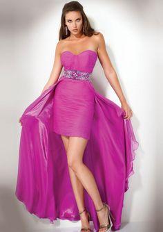 Column_Strapless_Beaded_Waistband_Short_Front_Long_Back_Prom_Dresses