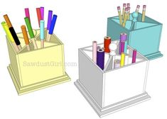 Lazy Susan art caddy - free and easy plans from https://sawdustgirl.com.