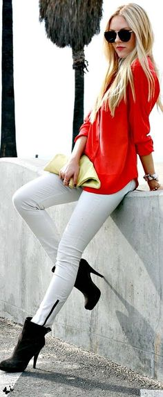 red shirt,white jeans and black mid calf boots