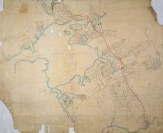 Allotments around the Manukau Harbour, and along the Great South Road to the Waikato River. Nz History, Vintage Maps, Me On A Map, Auckland, Allotments, The Neighbourhood, Libraries, Collections