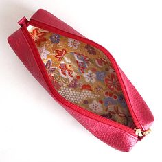 Leather pen case with Japanese Pattern brocade by manakaban