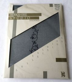 Vintage Berkshire studio Stockings Motif  back seam 1970s unopened pack 81/2 -11