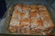 2 SIMPLE ingredients: 1 can of apple pie filling and 1 box of dry angel food cake mix.....that's it!  Mix the 2 ingredients together, pour in a greased 9x13 pan or dish and bake for about 20 minutes at 350. People....it can't get ANY easier than this! A dollop or 3 of ice cream finishes it off perfectly  942231_196360680521755_1281113555_n.jpg (960×636)