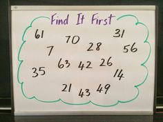 Find It First - a simple math game for multiplication facts! Are You Game? Mastering Multiplication Facts with Games! Multiplication Strategies, Teaching Multiplication, Teaching Math, Kindergarten Math, Teaching Ideas, Math Resources, Math Activities, Third Grade Math, Fourth Grade
