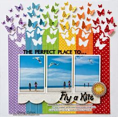 flying kites layout by Stacy Cohen... love love love the rainbow of butterflies!... (and I think that's washi tape)                                                                                                                                                                                 More