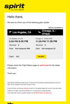 Spirit Airlines Flight 650 – Gate/Terminal Update - Really Good Emails Information Board, Booking Information, Html Email Templates, Flight Status, Flight Deals, Airline Flights, Best Email, Email Design, Gate