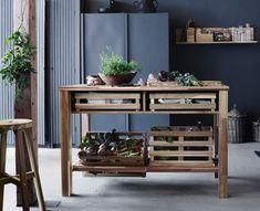 Vintage Modernes Blaugrau und rustikale Holzm bel f r die K che