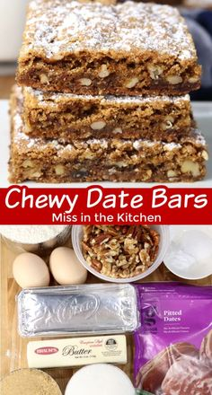 Date Bars are an old fashioned chewy cookie bar filled with chopped dates and nuts. An easy and delicious treat to bake for any day of the week. Most Popular Desserts, Great Desserts, Best Dessert Recipes, Sweet Recipes, Bar Recipes, Chocolate Toffee Bars, Peanut Butter Chocolate Bars, Yummy Cookies, Yummy Treats