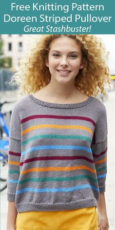 Free Knitting Pattern for Doreen Striped Sweater Stashbuster Sizes S to 3XL - Easy oversized sweater knit flat. Sizes S (M, L, 1X, 2X, 3X). Designed for 5 colors, there are plenty of options to incorporate more and use up your stash and leftover yarn. DK weight yarn. Designed by Lisa Carnahan for Lion Brand. Poncho Sweater With Sleeves, Poncho Tops, Long Sleeve Tunic, Sweater Knitting Patterns, Knit Patterns, Free Knitting, Zig Zag Dress, Dk Weight Yarn, Moss Stitch