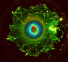 Cat's Eye Nebula orNGC 6543, is a planetary nebula in the constellation Draco Structurally, it is one of the most complex nebulae known. Distance to Earth: 3262 light years