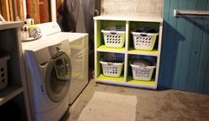 "The Impatient Gardener- Great ""laundry room"" makeover. She does her laundry in her unfinished basement, just like me- great ideas."