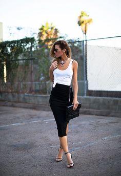 Чёрная юбка-карандаш (60 фото): с чем носить, с завышенной талией, образы, длинная, кружевная, миди