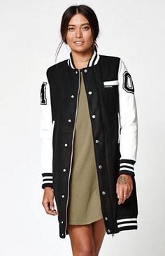 Members Only Long Varsity Jacket at PacSun.com Sports Hijab, Lifestyle Clothing, Street Outfit, Modern Outfits, Winter Wear, Swagg, Casual Wear, Dressing, Street Style