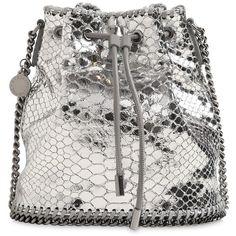 Stella Mccartney Women Falabella Metallic Bucket Bag (£650) ❤ liked on Polyvore featuring bags, handbags, shoulder bags, silver, white bucket bag, bucket bags, chain handle handbags, chain strap purse and drawstring shoulder bag