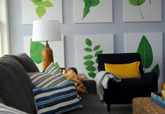 Inside the Better Homes & Gardens Innovative Home Botanical Gallery Wall, Botanical Prints, Green Paintings, Paint Shades, Room Colors, Paint Colors, Colours, Living Room Lighting, Room Lights