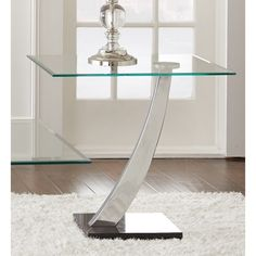 Greyson Living Kendal Chrome and Glass End Table
