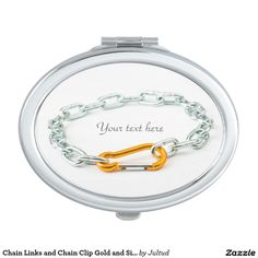Chain Links and Chain Clip Gold and Silver Compact Mirror. #beauty #mirrors #giftsforher #accessories