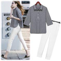 2016-spring-Europe-new-suit-Sleeve-Plaid-Shirt-White-nine-pants-suit-send-belt