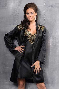 Irall Luna Dressing Gown Black Gold irlunadgblk via Love Temptation. Click  on the image dc4e3670c