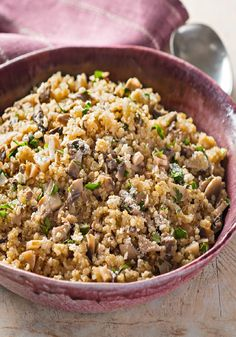 Mushroom Quinoa Pilaf -- Quinoa is a tasty alternative to rice in this pilaf with mushrooms and grated Parmesan. (Thanks to the quinoa, it's a healthy living recipe!)