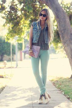Jean Vest + Mint Jeans