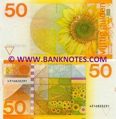 Netherlands 50 Gulden 1982  Sunflowers; Bee; Map of the Nederlands.