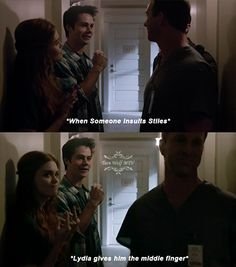 Teen Wolf ~ Lydia and Stiles - She actually did it too. look closely.