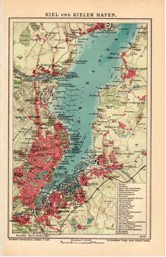 Map Kiel Germany Vintage 1906 Edwardian Steel Engraved Cartography