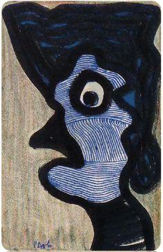 Pierre Albasser, Zeichnung auf einem Bierdeckel  (Der böse Blick)