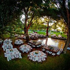 lights from trees, outdoor reception and different tables …beautiful