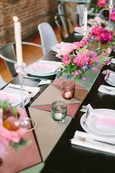 Creative table runner | photo by Apryl Ann Photography | 100 Layer Cake