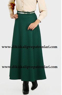 Uzun İki Parça Çan Etek Kalıbı Winter Skirt, Hijab Fashion, Knit Crochet, Midi Skirt, Sewing, Knitting, Creative, Womens Fashion, Skirts