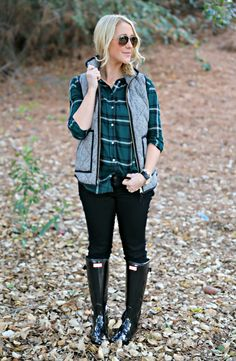 J Crew Herringbone Vest, Plaid Shirt, & Hunter Boots