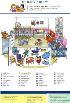 16 - THE BABY'S ROOM - Pictures dictionary - English Study, explanations, free exercises, speaking, listening, grammar lessons, reading, writing, vocabulary, dictionary and teaching materials