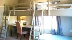 bunk bed with desk underneath--This would be perfect for my