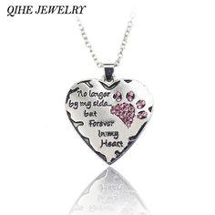 """QIHE SCHMUCK """"nicht mehr meiner seite aber immer in meinem herzen"""" rosa Weiß Silber Kristall Katzen Hunde Pfoten Klaue Print & Herz Halskette"""