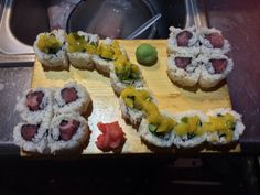 Vegetable Roll with Peach and Pepper Relish, Naked Tuna Roll