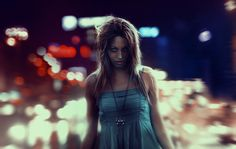 Girl walking to the night.