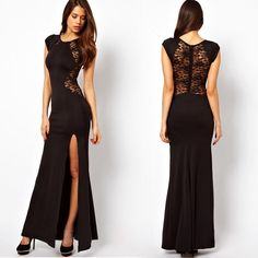 Maxi Lace Back Side Split Long Party Dress