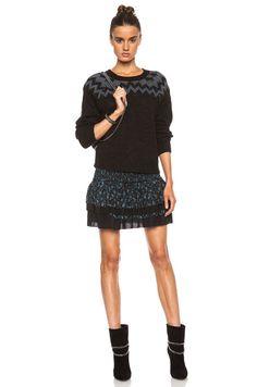 Pam & Gela|Fair Isle Crop Wool-Blend Sweater in Black, Charcoal & Light Blue [5]