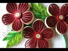 Art & Craft How to make Beautiful Quilling Red Flower Quilling -Paper Ar...