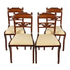 Set of four Regency antique mahogany sabre leg chairs. This set of early century antique dining chairs are available to buy online now. Antique Dining Chairs, Antique Furniture, Seat Pads, Regency, 19th Century, Centre, Armchair, Profile, Drop