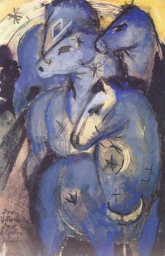 """Paul Klee, Franz Marc and Wassily Kandinsky founded in 1911 the almanac and movement """"Der Blaue Reiter"""" and organized exhibitions with this name. Franz Marc, Marc Chagall, Wassily Kandinsky, Painted Horses, Horse Mural, Horse Art, Canvas Poster, Print Poster, Blue Horse"""