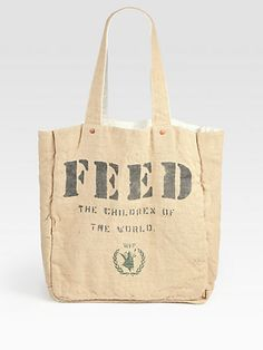 FEED 1 Reversible Cotton and Burlap Tote Bag...great bag for a good cause!