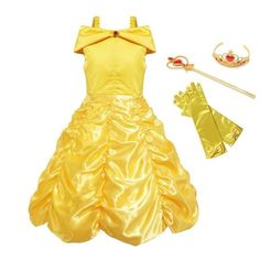 Big Discount MUABABY Girls Belle Dress up Princess Costume Children Off Shoulder Layered Yellow Party Ball Gown Carnival Kids Cosplay Dress Girls Belle Dress, Princess Belle Costume, Dresses Kids Girl, Girl Outfits, Dress Up Costumes, Cosplay Dress, Woman Costumes, Mermaid Costumes, Couple Costumes