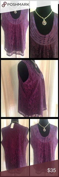 """""""Can't Top This!"""" NWT top This gorgeous top features a beautiful lace overlay with a solid purple lining. Layers of fabric adorn the v- neck creating a fabulous face framing detail. Purple---the color of power and ambition, channel that feeling in this beautiful top. 27 inches from shoulder to hem. Slips over the head. City Girl Tops"""