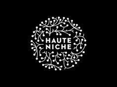 Dribbble - HauteNiche by Martin Gross Logos, Typography Logo, Graphic Design Typography, Logo Branding, Branding Design, Lettering, Corporate Branding, Round Logo Design, Type Logo