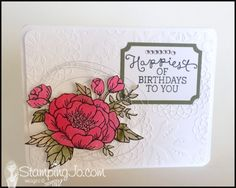 Birthday Bloom, hand made, hand stamped, birthday card, silver metallic thread, watercolor, Lovely Lace Embossing folder, Big Shot,